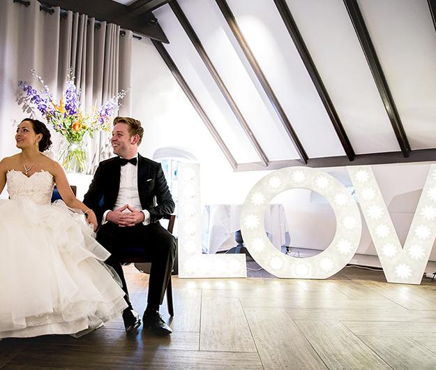 Lichtletters love op je bruiloft